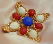 Pretty Vintage 1970's Red White Blue Sarah Cov Cross Brooch 177N5