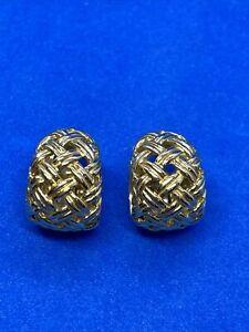 Jean Vitau 18K Yellow Gold 2002 Weave Huggie Earrings
