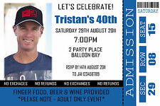 Personalised Ticket Style 18th 21st 30th 40th Adult Birthday Invitations invites