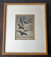 Original ROLAND CLARK Pencil Signed Drypoint Etching, Sporting Art -Canada Geese