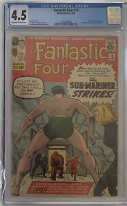 Fantastic Four #14 Sub-Mariner Jack Kirby & Stan Lee CGC 4.5 1963 Ow/white Pages