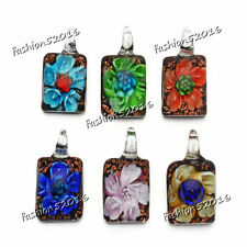FREE Wholesale Lots 12X Square 3D Flower Lampwork Glass Pendants DIY Necklace