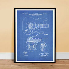 "FENDER STRATOCASTER GUITAR POSTER Blueprint 1956 Patent Print 18x24"" (unframed)"