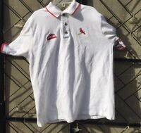 St Louis Cardinals Baseball Men's Vintage Lee Sports White Polo Shirt Medium S/S