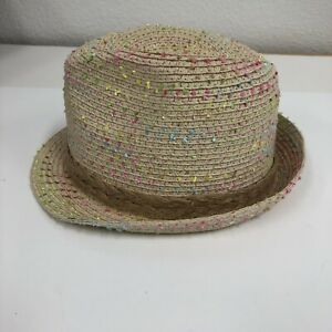 Girls Woven Straw Pastel Contrast Band Fedora Size 5-7
