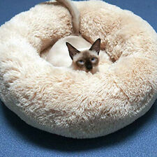 CC_ EY_ PET DOG CAT CALMING BED WARM SOFT LONG PLUSH ROUND COMFY COZY NEST SLEEP