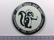 Pin Badge TERRIFIC VINTAGE Button SKUNK CREEK JAZZ BAND SACRAMENTO 1992.