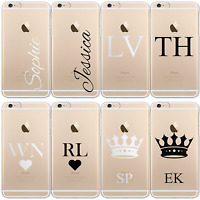 HAIRYWORM PERSONALISED INITIAL MONOGRAM NAME CLEAR PLASTIC PHONE CASE FOR APPLE