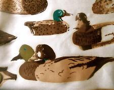 Vintage Decoy Mallard Duck Cotton Fabric ~Teal Olive Brown ~Lodge Cabin Interior