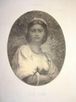 E. PIRODON (1824-1908) Litho PORTRAIT FEMME NOIRE GUADELOUPE MARTINIQUE REUNION
