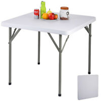 """34"""" Plastic Portable Square Folding Banquet Table Multipurpose Outdoor Camping"""