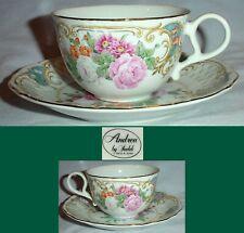 "Andrea by Sadek Amore Floral Porcelain Cup & Saucer Japan/cup 2.25"" saucer 6"""