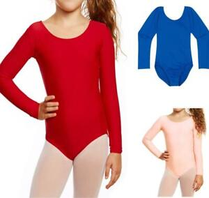 Girls Uniform Leotard Dance Gymnastics Ballet Long Sleeve Leotards Kids Age 3-14
