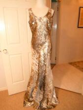 Designer Rengin Ladies Long Silver/Gold Formal/Evening Dress Size 14