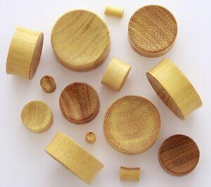 "1 Pair 5/8"" 16mm Yellow Jack Fruit Natural Organic Wood Ear Concave Plugs 897"