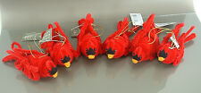 """Large 5"""" Chenille Red Cardinal Bird Christmas Tree Ornaments Set of 6"""