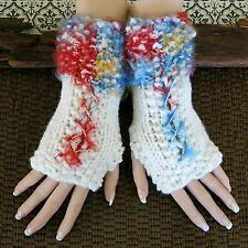 Knitted Fingerless Gloves, Bohemian Wool Corset Arm Warmers, Gothic Burlesque