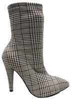 Magnolia-07xm Pointed Toe Ankle High Stiletto Heel Stretchy Boots Plaid