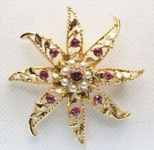 - Pink Rhinestones Faux Pearls Gold Tone Brooch Pin - Signed Gerry's Star Flower