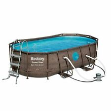 Bestway 14ft x 8ft x 40 inch Power Steel Swim Vista Swimming Pool Set with Pump