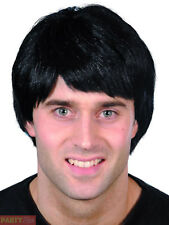 Mens Black Boy Band Wig Adults 80s 90s Party Guy Fancy Dress Accessory