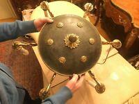 RARE Antique Empire Chandelier Gold Bronze Danish Brass Hanging Chain Lamp