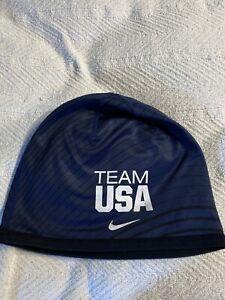 Nike Dri Fit Team USA Olympics Skullcap Navy Blue Swoosh Wool Blend Thick Beanie