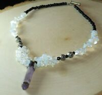 AMETHYST Crystal Point Pendant Necklace Handmade