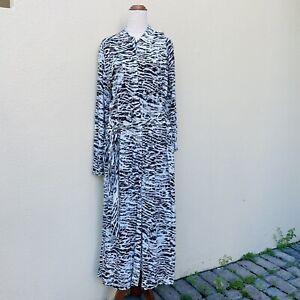 Witchery Sz 16 Black White Animal Print Long Slv Collared Maxi Shirt Dress