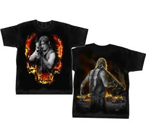 The Walking Dead Daryl Dixon Bazooka Flames Front and Back T-shirt Official