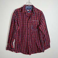 Vintage Tommy Hilfiger Flannel Men's M Red Plaid Long Sleeve Button Front Shirt