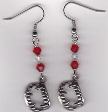 Halloween Earrings-Fangs Dracula Vampire Teeth - Tibetan Silvr w/Swarovski Beads