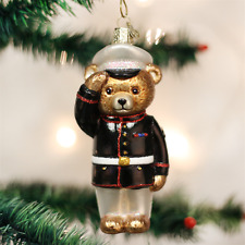 OLD WORLD CHRISTMAS MARINE BEAR SOLDIER VETERAN PATRIOTIC XMAS ORNAMENT 12403
