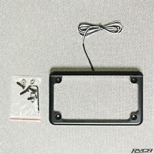 Black LED Lighted Motorcycle License Plate Frame Cafe Racer Bobber