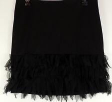 Ann Taylor Retail Black Label 6P Stretch Pencil Skirt Sheer Lace Petal Fringe 6