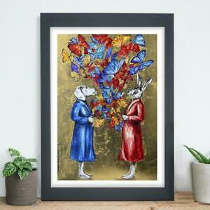 GILLIE AND MARC. Direct from Artists. Authentic Butterfly Gold Art Print