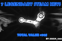 7 LEGENDARY Random Steam Keys Worth Value + 90$