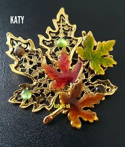 3 Tones Maple Leaves Vintage Style BROOCH Antique Gold Green Stones Pin Gift