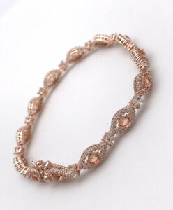 "Sterling Silver 925 Rose Gold Vermeil Cubic Zirconia Tennis Bracelet 7"""