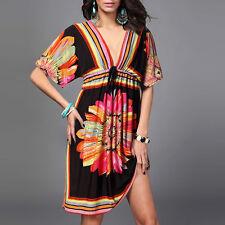New Women Sexy-V Casual Short Sleeve Boho Bohemia Mini Maxi Dress Beach Sundress