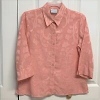 Alfred Dunner Blouse Size 14P Pink Paisley