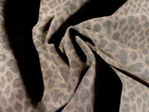 Pigskin leather hide Suede XL Leopard Print on Dark Charcoal Brown full bodied