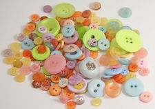 200g Mixed Pastels Coloured Buttons - Sewing Craft, Jewellery Making, Papercraft