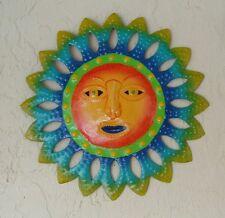 "OUTDOOR 13"" METAL HAITIAN SUN W/ORANGE FACE TROPICAL WALL HANGING TIKI ART DECOR"