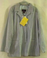 DENIM & CO. Blue Suede Leather Blazer/Jacket Fully Lined 3 Button - Large