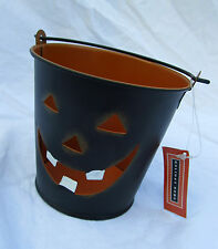 Metal Jack-O-Lantern Pumpkin Black Bucket Candle Holder Halloween Home Decor