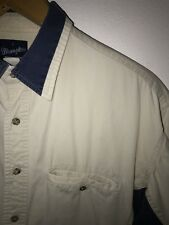 Wrangler Men's Western Two Tone Denim Shirt Size Large Blue and Tan DSC2