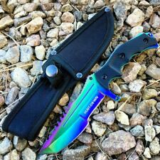 "10"" Survival Tactical Hunting Fixed Blade Rainbow Full Tang Bowie Knife W Sheath"