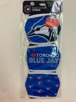TORONTO BLUE JAYS 3 PACK FACE MASK COVERS - REUSABLE WASHABLE W/ COTTON LINING