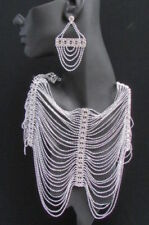 New Women Shoulders Chest Chain Fashion Jewelry Silver Metal Rhinestones Strands